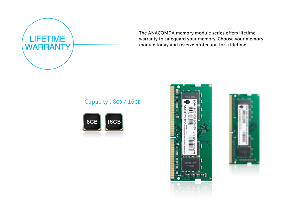 The DDR4 module uses a lower voltage (1.2V) which, in comparison to the standard DDR3 voltage of 1.5V, can save around 20% on electricity while also reducing the operating temperature. This helps to reduce carbon emissions and protect the environment.